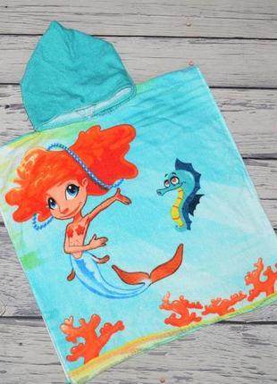 Фирменное детское пляжное полотенце пончо девочке махровое русалочка