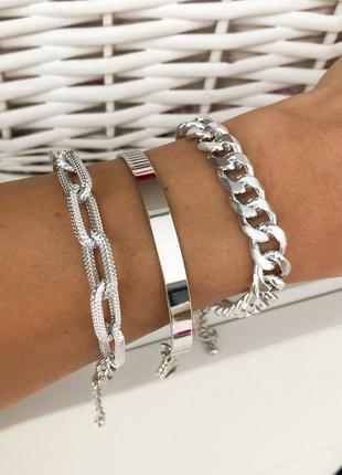 Браслет цепь массивный браслет крупные звенья набор браслетов под серебро