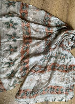 Большой нежный цветочный шелковый  шарф шелк натуральный палантин