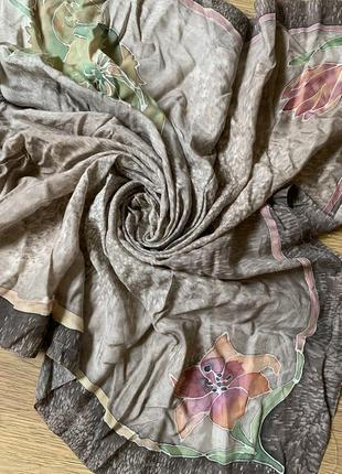 Тюльпаны ручная роспись батик шелковый платок шелк натуральный 100%