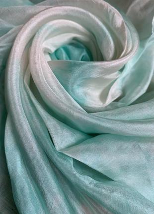 Бирюзовая феерия шелковый платок шелк натуральный 100% ручной окрас