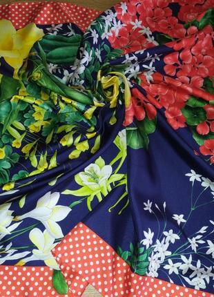 Винтажный прекрасный подписной платок, шёлк
