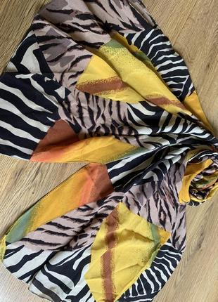 Лимонно -хищный шелковый шарф шелк натуральный палантин