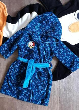 Теплый плюшевый флисовый халат с капюшоном bumba германия