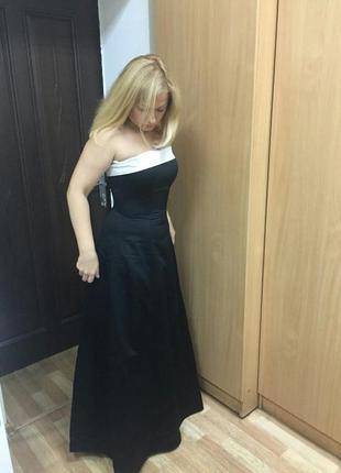 Элегантное вечернее, выпускное длинное платье бюстье с пышной юбкой