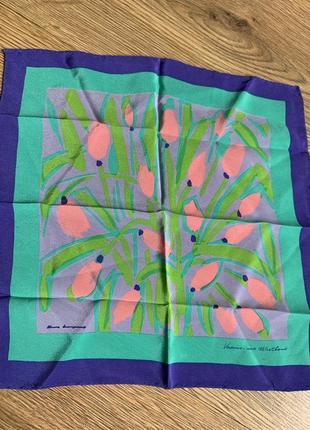 Маленький шелковый красавчик платок шелк натуральный тюльпаны подписной