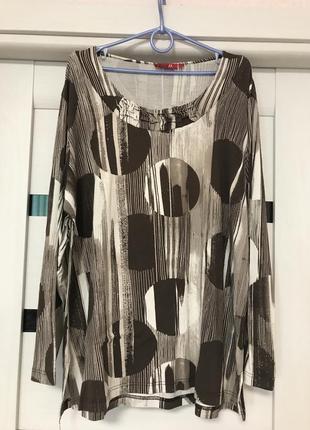 Блуза  блузка кофта большого размера с длинным рукавом