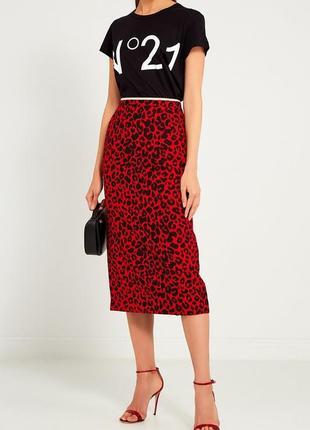 Красивая красная юбка с леопардовым принтом, river island !!!