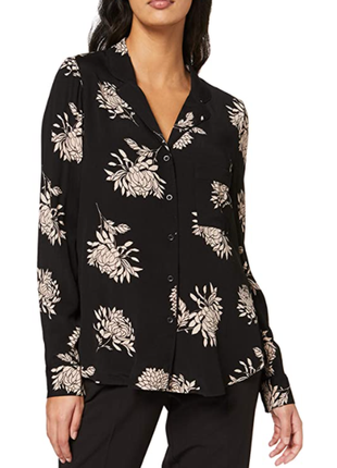 Блуза новая цветочная натуральная с накладным карманом new look uk 12/40/m