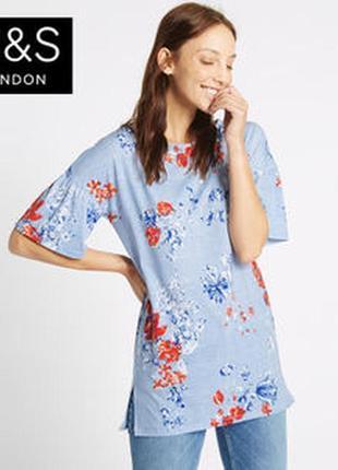 Блуза туника цветочное трикотажное красивое marks&spencer uk 14/42/l