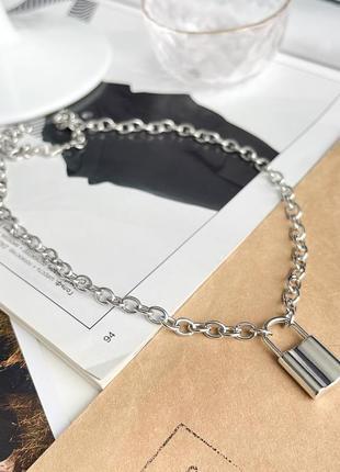 Цепочка с замком цепь на шею подвеска с замочком колье чокер ожерелье ланцюжок