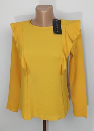 Блуза модная желтая новая с рюшами new look uk 6/34/xs