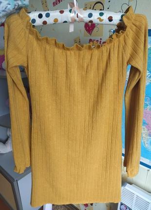 Крутое мини платье лапша спушенное плечо