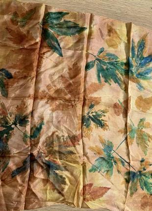 Платок картина золотая осень шелковый платок шелк батик роспись