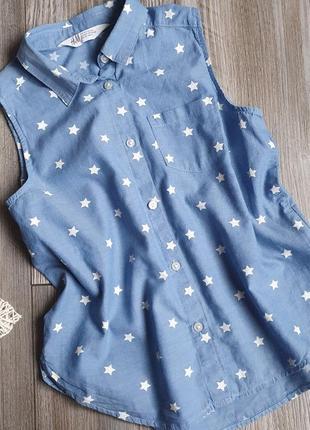 Блузка рубашка со звездами h&m 8-9л