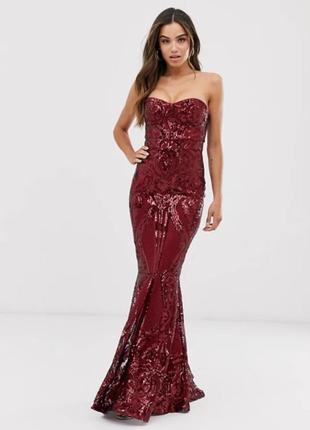 Бордовое платье с паетками