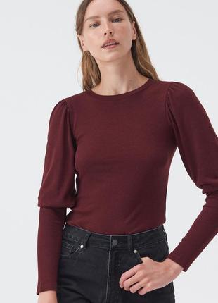 Sinsay тонкий трикотажный джемпер блуза реглан с актуальным рукавом
