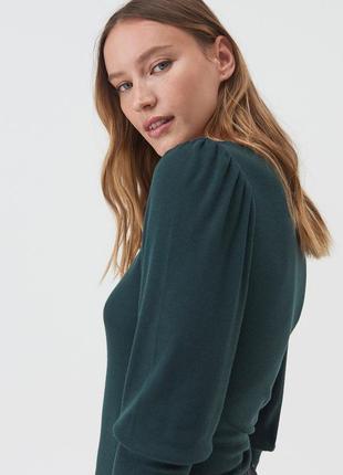 Sinsay тонкий трикотажный джемпер блуза лонгслив с актуальным рукавом