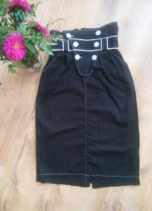 Миди юбка на талии, классика черная