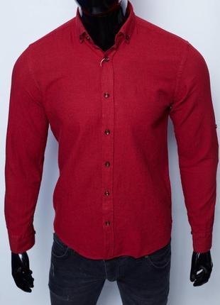 Рубашка мужская льняная figo 15276 с регулировкой рукава цвета в ассортименте