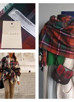 🌹☕️ уютный шарф/палантин/плед тартан oversize primark 🌿 ☕️