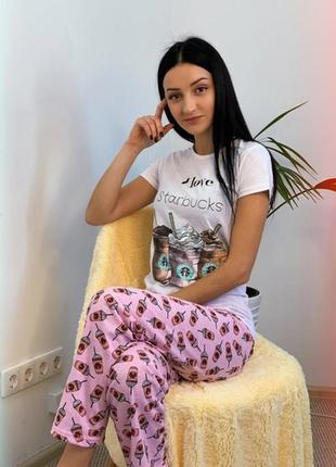 Домашний костюм пижама со штанами i love starbucks размер м