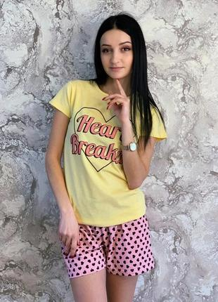 Домашний костюм пижама с шортами heart breaker размер м