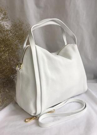 Сумка кожаная белая мягкая пр-во италия, genuine leather, шкіряна сумка біла