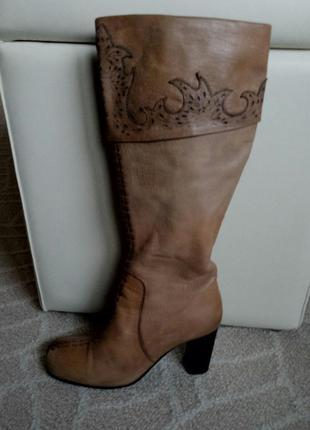 Демисезонные кожаные сапоги.
