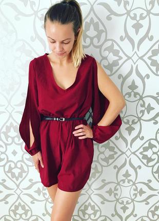 Супер красивый комбез комбенизон платье  бордового цвета актуально вечернее