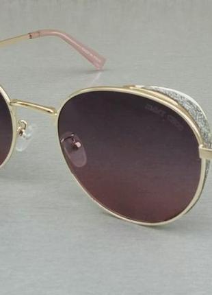 Jimmy choo очки женские солнцезащитные темно бордовые с градиентом в золтом металле