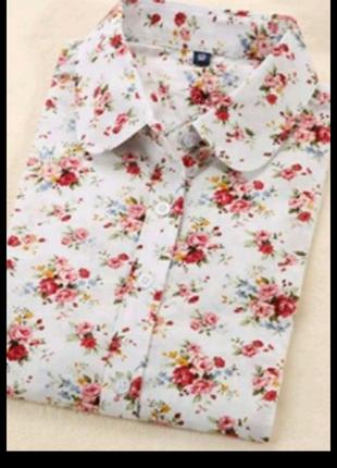 Сорочка рубашка квітковий принт цветочний