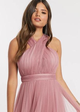 Вечернее выпускное розовое воздушное платье-сетка