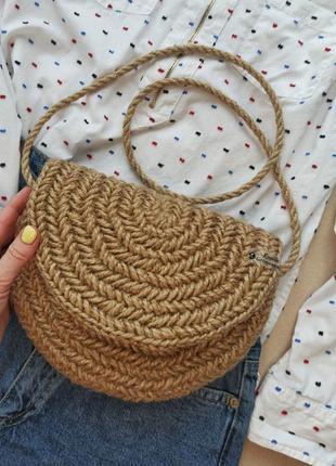 Джутовая сумка, клатч, сумочка из джута, джут, кросс боди
