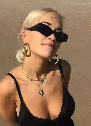 Ктутые черные узкие очки прямоугольные солнцезащитные ретро окуляри чорні