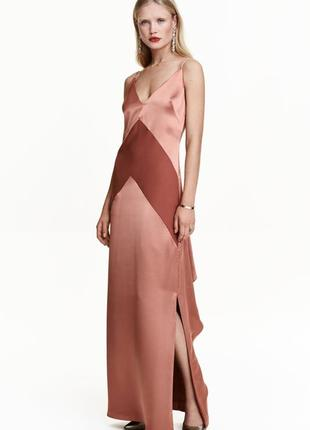 Длинное вечернее платье на тонких бретелях h&m
