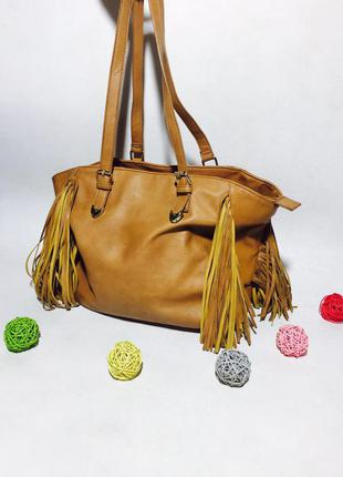 Стильная кожаная летняя деловая сумка с бахромой и ручками