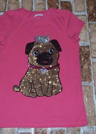 Нарядная котон футболка девочке 9 - 10 лет bluezoo