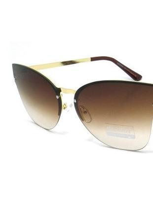Женские солнцезащитные очки kaidi с коричневыми линзами в золотой оправе металл