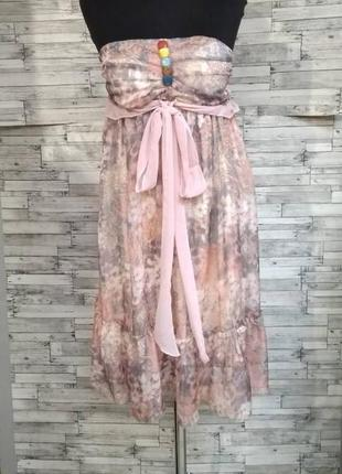 Розовое шифоновое миди платье