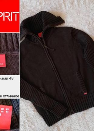 Esprit вязаная кофта джемпер свитер на молнии размер m