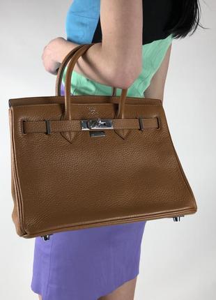 Оригинальная кожаная сумка hermès paris togo birkin клатч портфель ранец3 фото