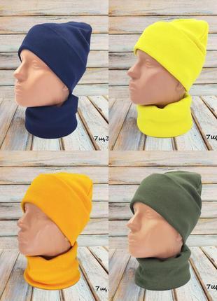 Демисезонная шапка бини и хомут снуд рубчик,белая,горчица,хаки,желтая