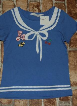 Новая хлопковая футболка девочке 5 - 6 лет  h&m