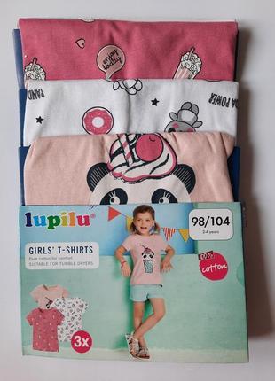 Набір бавовняних футболок дівчинці 98-104см