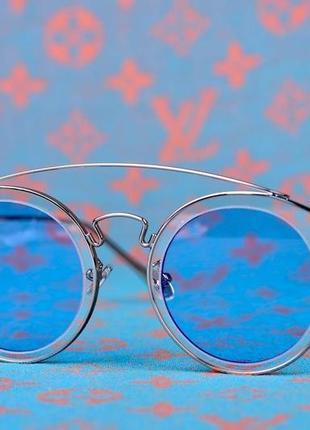 Очки оправа цвет серебро ,линзы голубой цвет