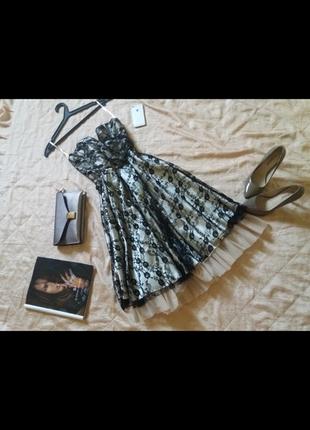 Кружевное коктейльное платье миди с пышной юбкой zara