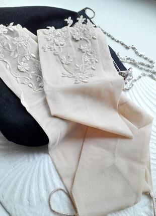 Перчатки женские сеточка вышивка