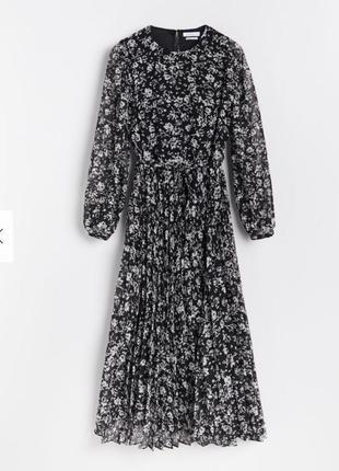 Платье миди плиссе с цветами reserved