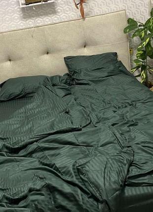 Комплекты постельного белья из страйп сатина, зеленый, 💯 хлопок, есть размеры